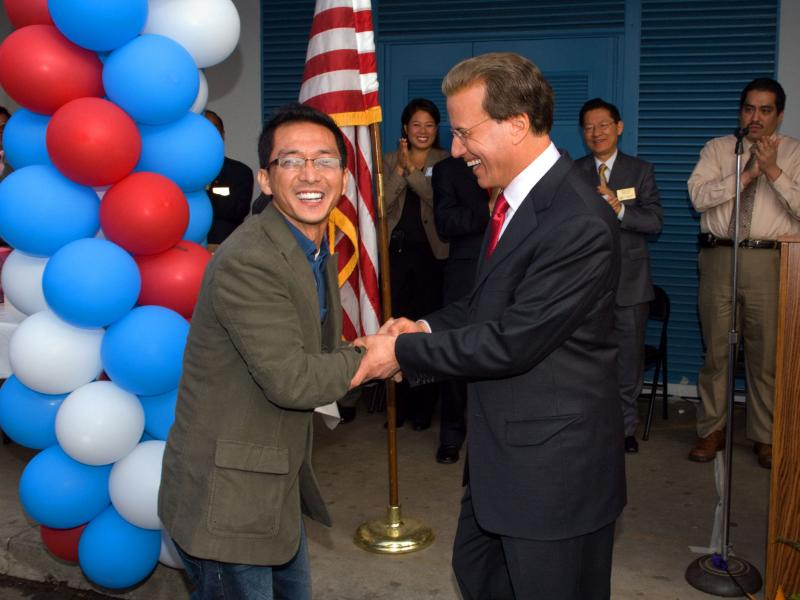 Milken Educator Aaron Chung and Lowell Milken