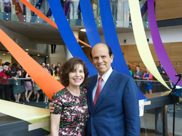 Milken Institute of Public Health ribbon cutting - Mike Milken and Lori Milken