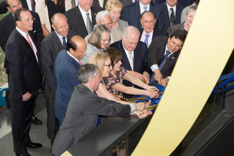 Milken Institute of Public Health ribbon cutting - Mike Milken and group
