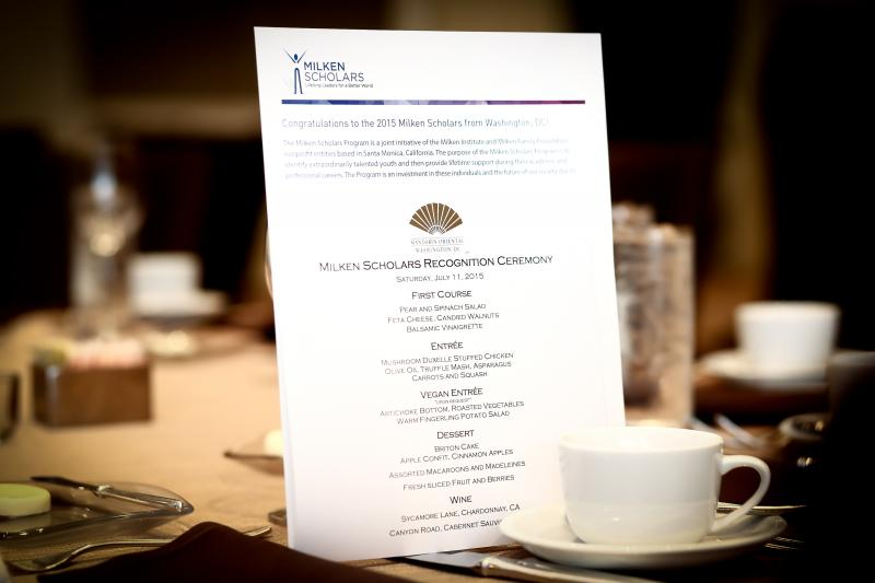 Washington D.C. 2015 Milken Scholars Recognition Ceremony menu