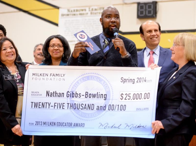 Nathan Gibbs-Bowling, Mike Milken, Patty Murray, Marily Strickland, Leonora Noble and check